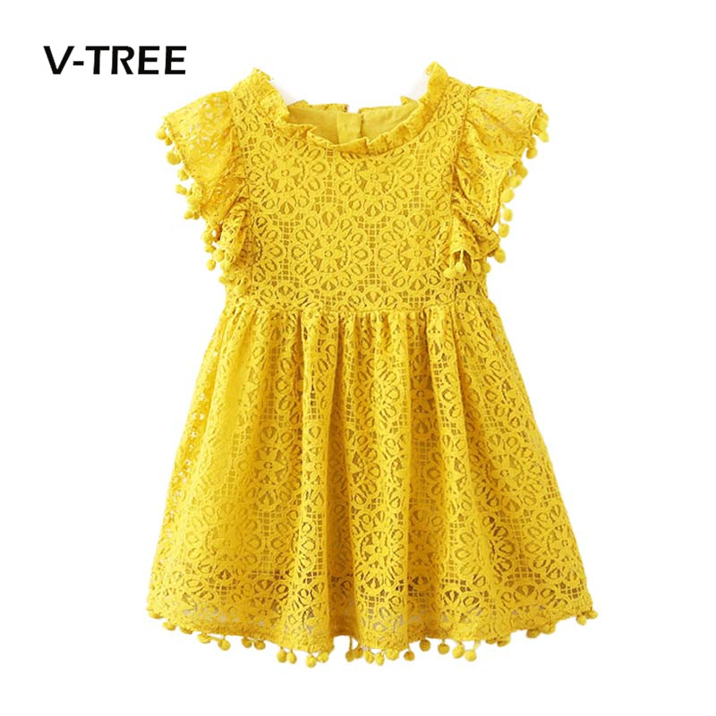 V-TREE Baby Girls Dress Summer Lace Princess Dresses For Girls Wedding Birthday Party Dresses Kids Brand Children Costume 2-8Y dkdgny 3 10 year girls lace dress princess dress for baby girls dress summer 2018 kids brand party dresses children clothing