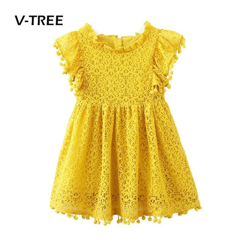 V-TREE niñas vestido verano encaje princesa vestidos para niñas fiesta de cumpleaños de la boda vestidos para niños marca niños traje 2-8Y