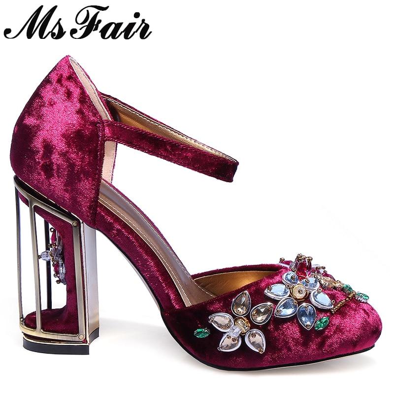 Chaussures rouge Talons Femme Boucle Msfair Décoration En Cristal Femmes pourpre Fleur Mode Hauts Noir Métal Sandales Marque twwF4B