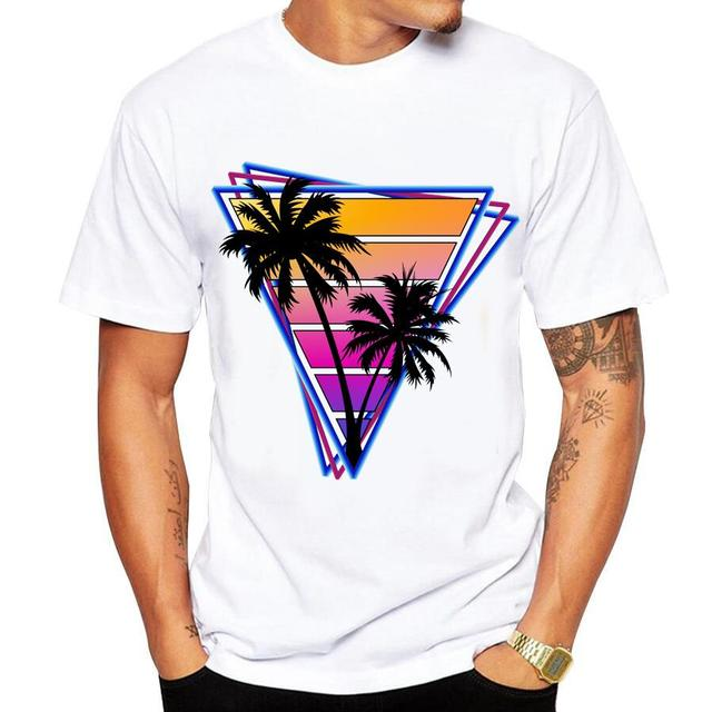 Casual men's t-shirt new short-sleeved Summer Retro Style Synthwave