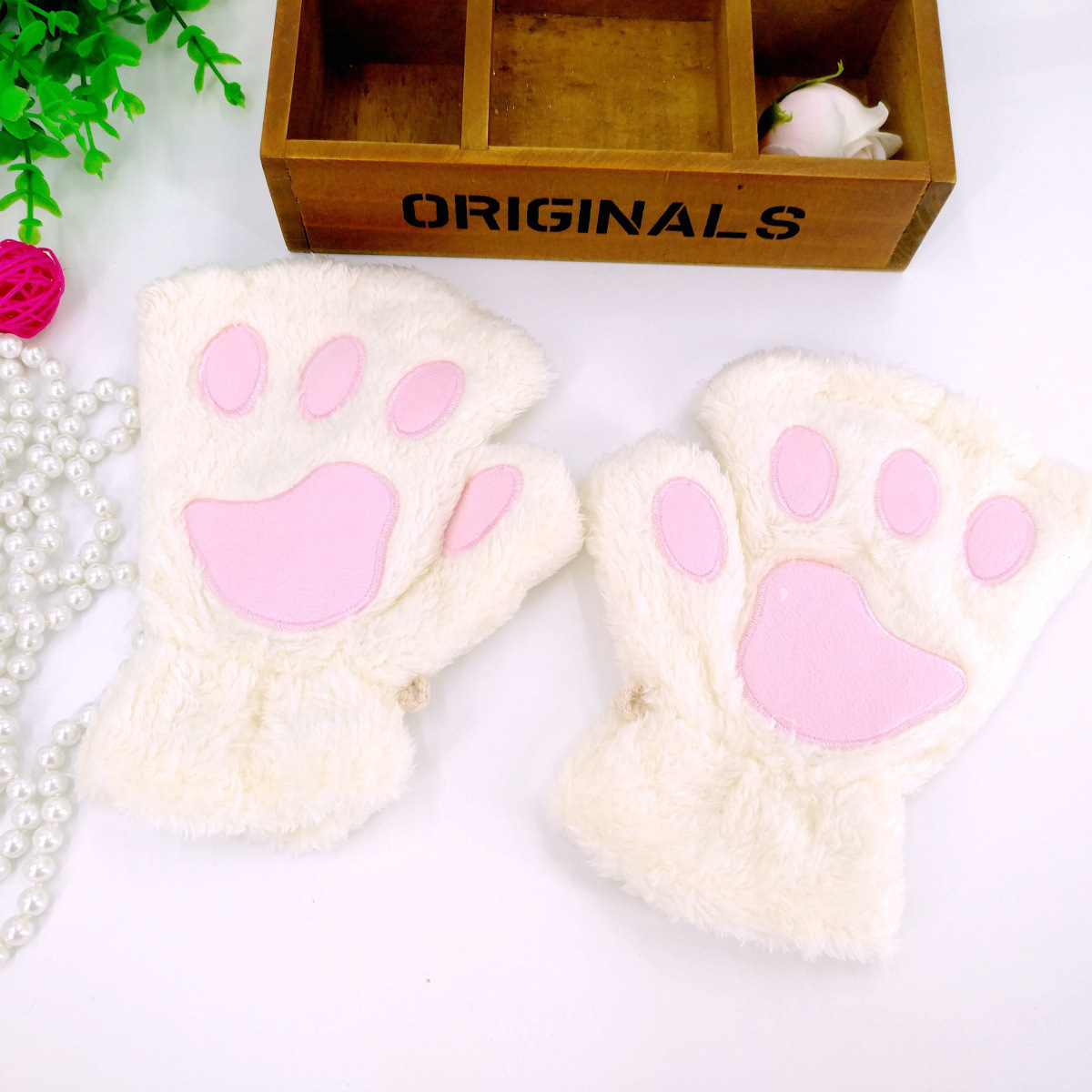 Mitten Soft Full Finger Gloves Fashion Winter Warmer Adults Boy Girl Cat Fingerless Hand Cute Cat Claw Paw Plush Gloves