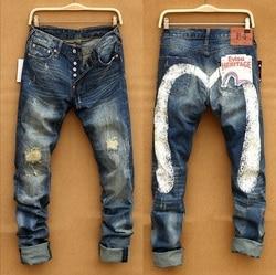 Evisu Nieuwe Casual mannen Ademend Hoge Kwaliteit Jeans Warme mannen Tij Merk Borduren Straight Print mannen Broek vier Seizoenen