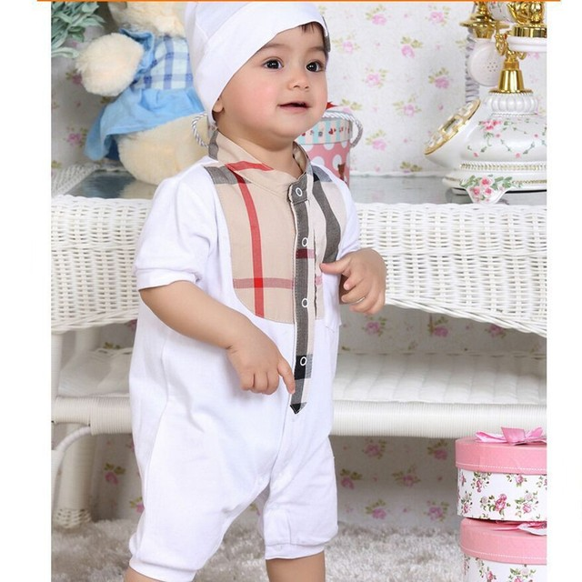 2019 new born baby boy romper Handsome cotton White Plaid Long sleeve newborn baby Romper set infant boy clothing overalls 3-24M