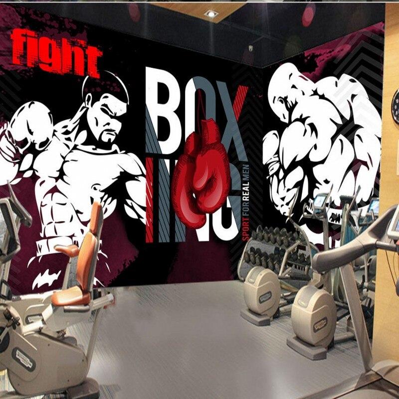 wallpaper 3d Custom Graffiti Boxing Sports Club Image Wall Background Decoration mural cartoon high quality Gym wallpaper