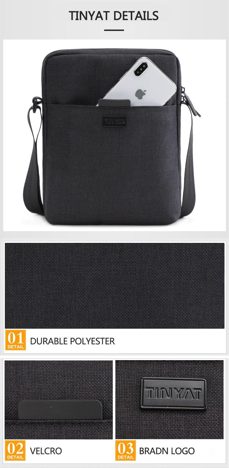 Light Canvas Shoulder Bag For 7.9 Ipad Casual Crossbody Bag Waterproof Messenger Bag Pack Sling Bag For Men 0.13Kg
