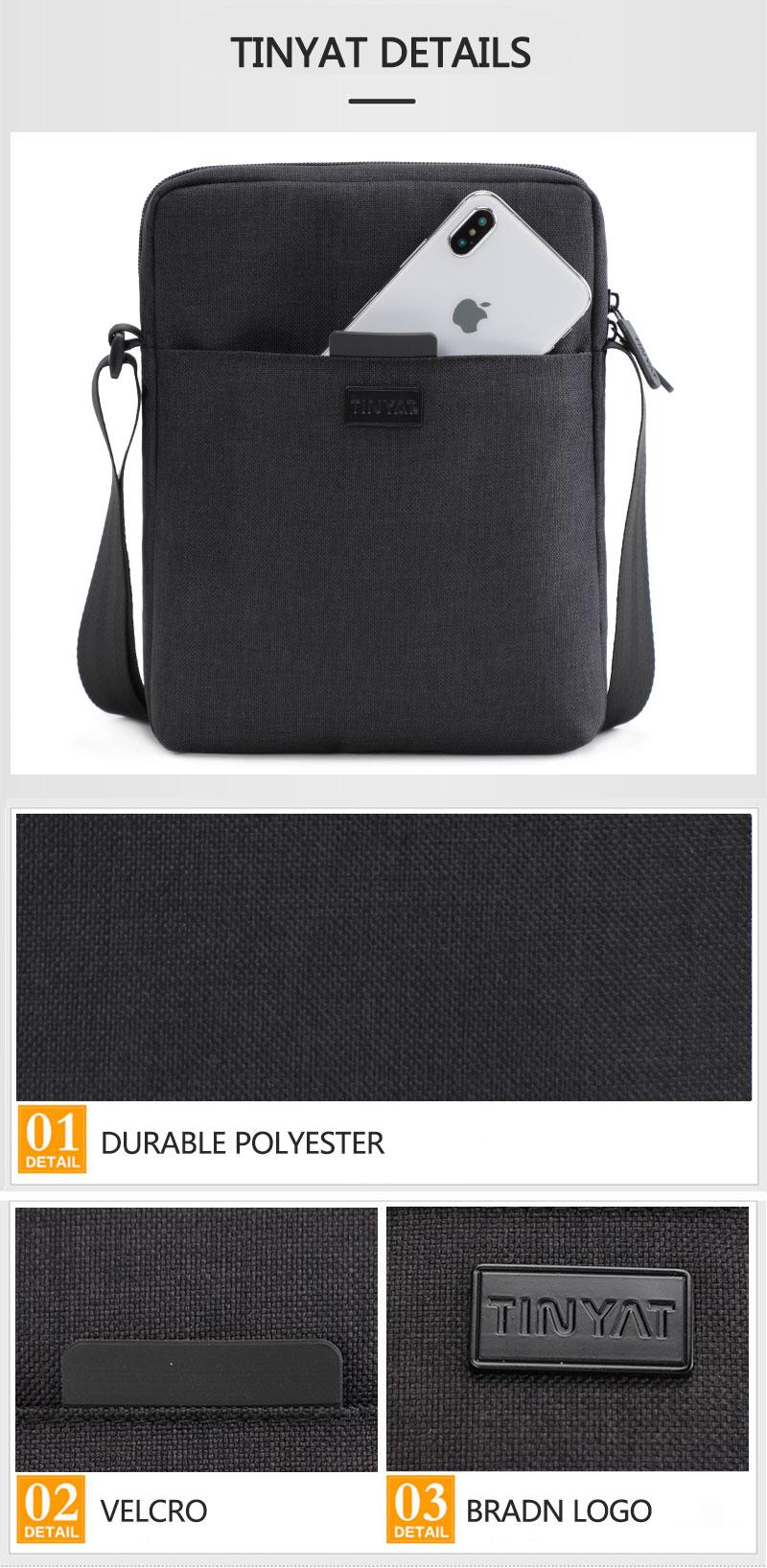 TINYAT Light Canvas Men's Shoulder Bag For 7.9' Ipad Casual Crossbody Bag Waterproof Business Shoulder bag for men 0.13kg 11