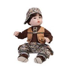 Simulation Newborn Baby Boy Doll with Clothes and Hat,Fashion 19 Inch Silicone Reborn Babies Doll Toys for Children