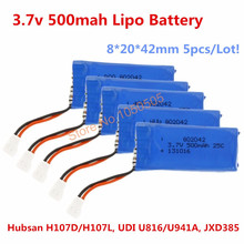 5pcs/lot Battery 3.7v 500mah 25c Lipo Rechargeable Battery for Hubsan X4 H107D/H107L UDI U816/U941A