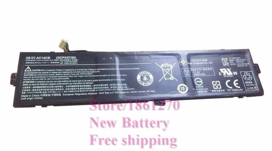 ФОТО New Original Battery 11.4V 3090mAh 35Wh For Acer AC14C8I AC14C81 3ICP5/57/80 Free shipping