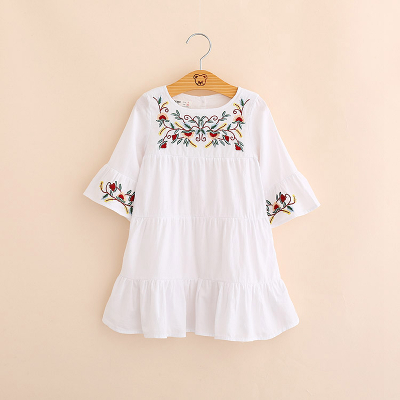 IMMDOS Dresses For Girls 2018 Spring Embroidery Cotton Princess Dress Children Autumn Vestidos Long Sleeve Fashion New Clothes new fashion 2018 spring women lace dress elegnt black dress vestidos long sleeve knitted dresses female outwear hot sale lx19