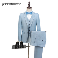 2018 New Brand Light Blue Linen Men Suit Tuxedo Slim Fit 3 Piece Jacket Groom Blazer Prom Casual Wedding Suits Terno Masculino