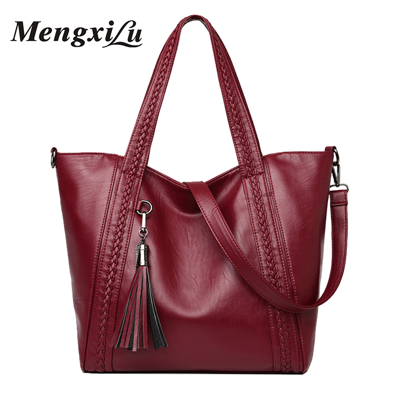 MENGXILU Brand Tassel Women Bag Weave Women Shoulder Bags High Quality Women Leather Handbags Large Capacity Casual Tote Bags ...