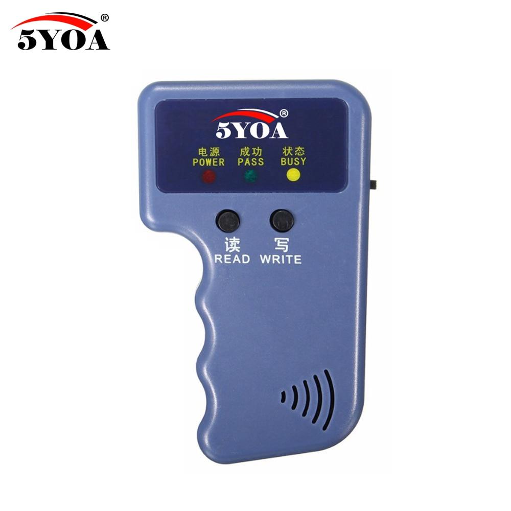 Image 3 - Handheld 125KHz EM4100 RFID Copier Writer Duplicator Programmer Reader + EM4305 T5577 Rewritable ID Keyfobs Tags Card-in Control Card Readers from Security & Protection