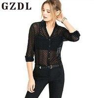 GZDL Black Striped Transparent Women Fashion Shirt Blouses Summer Deep V Neck Turn Down Collar Top