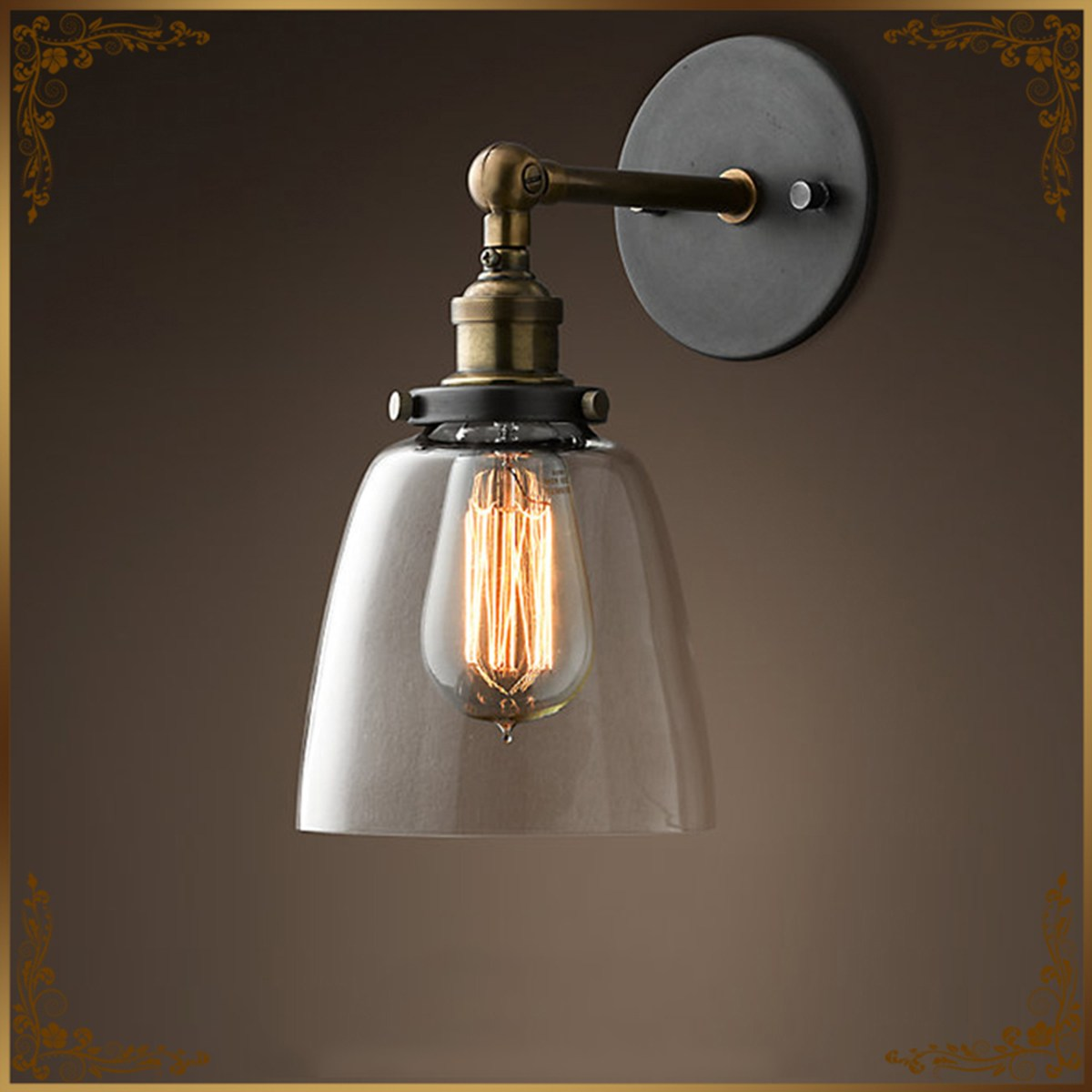 E27 Vintage Industrial Retro Glass Shade wall Lamp transparent Amber Color Lampshade Wall Light Bulb Holder Home Decor AC85-265V