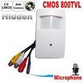 Cámara de seguridad cctv cmos color 800tvl 960 h motion detector pir estilo micrófono de la cámara de vigilancia cctv de interior de mini pir estilo