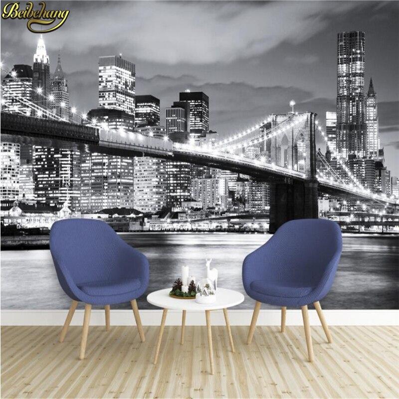 Купить с кэшбэком beibehang Photo Wallpaper BROOKLYN BRIDGE NEW YORK Designer Wall Mural vinyl wallpaper papel de parede adesivo 3d wallpaper