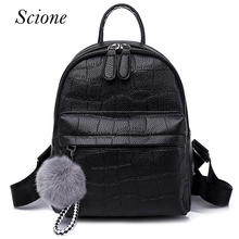 Фотография Vintage Retro Lady PU Leather Backpack School Bags for Teenagers Girls Shoulder Bag Crocodile Pattern Bolsa Mochila Feminina