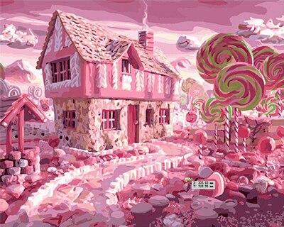 Pengiriman Gratis Tanpa Bingkai Rumah Permen Diy Digital Lukisan