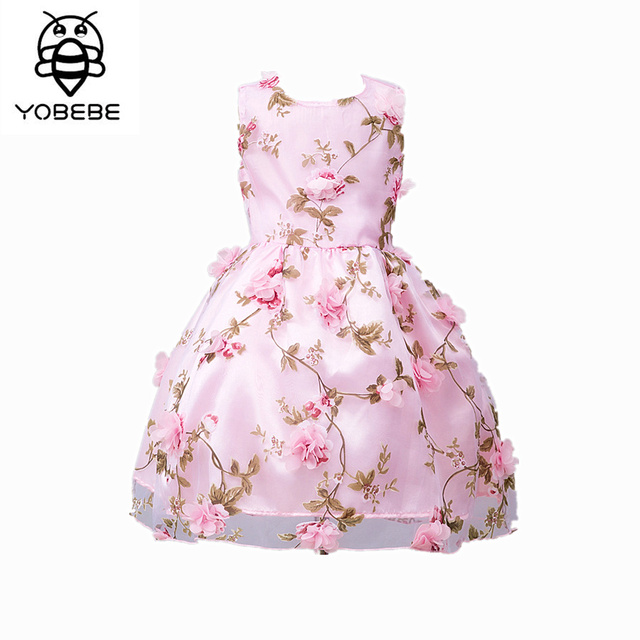 Girl Dress Summer 2017 Pink Flower Classic Children Chiffon Wedding Dresses  Girls 9 10 12 years old Girl fashion Dress a181b412000b