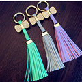 2017 Fashion girls leather tassels keychain . Lovely Bowknot Key ring