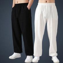 Мужские штаны s Tai Chi, хлопковые льняные свободные штаны для йоги, летних боевых искусств, тренировочные брюки для кунг-фу, Мужские дышащие штаны, штаны-шаровары для мужчин