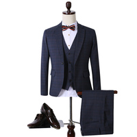 2016 New Men Notched Lapel Blazers Jacket Vest Pants Custom Wedding Suits Groom Dress Tuxedo Veste