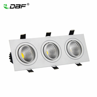[DBF] Dimmable 3 Teste Quadrato Da Incasso PANNOCCHIA Downlight PANNOCCHIA 15 W 21 W 30 W 36 W LED Lampada Da Soffitto AC110V/220 V LED Spot Light Con Driver
