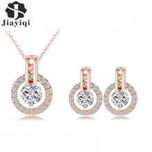 2017 Silver Rose Gold Wedding Jewelry Sets Cubic Zirconia Elegant Engagement Earring & Choker Necklace  for Women Accessories