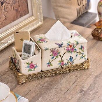 The supply of creative ceramic multifunctional tissue box houses living room villa high-grade paper smoke ceramic ornaments