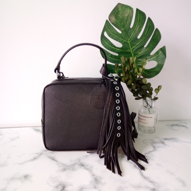 8f8b7520b4 2018 novelty small genuine leather box shape crossbody bag for women unique  design real cow leather tassel one shoulder bag