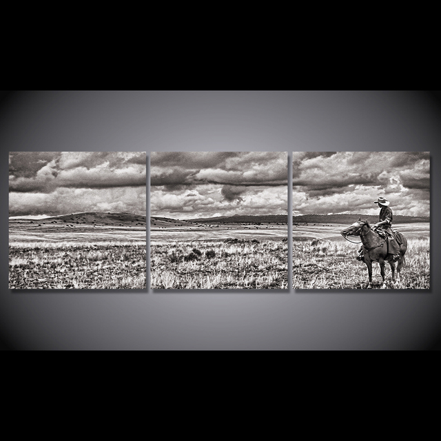 HD Printed 3 Piece Canvas Painting Black and White cowboy horse riding Wall Pictures for Living Room Free Shipping CU-1650B