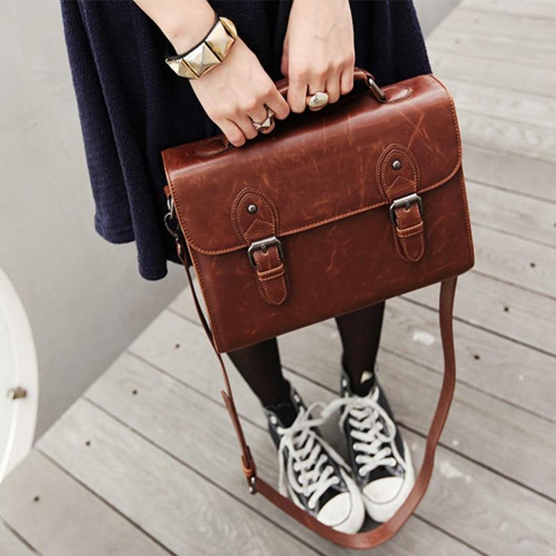 ФОТО Women Brown Briefcase Bag Tote Designer Handbags High Quality Brand 2017 Leather Laptop Bag Messenger Bags Classic Shoulder Bags