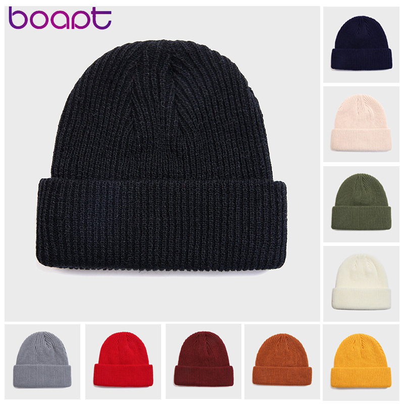Adult Knitted Skullcap Women Men Fashion Casual Hip Hop Hat Acrylic Ski Beanie Cap Unisex Winter Keep Warming Solid Color Hats