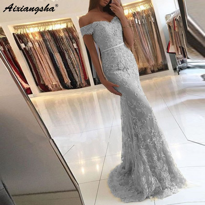 Hors de l'épaule chérie sirène dentelle robe de soirée 8 grade robes d'obtention du diplôme longue robe de bal 2019