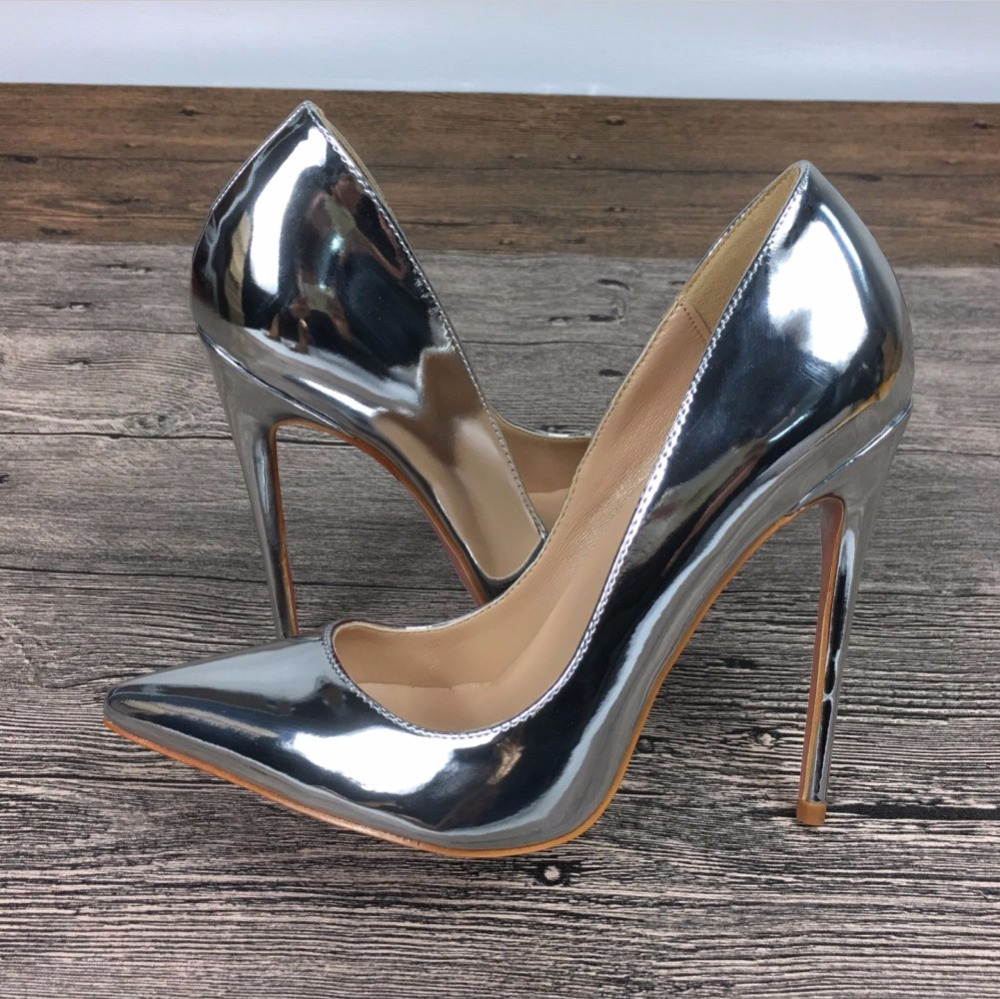 2019 Fashion Free Shipping Women Silver Patent Leather Poined Toe Stiletto High Heel Shoe Pump HIGH-HEELED SHOE Wedding Shoes
