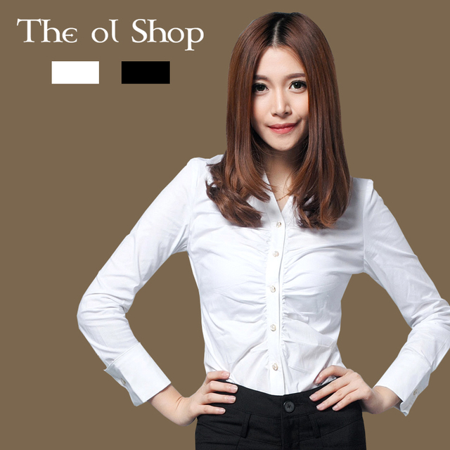 The Ol Shop French Cuff White Long Sleeved Shirt Slim Black Lady V