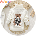 Warm Winter Soft Woolen Baby Boys Girls Sweaters Infant Cute Cartoon Bear Kids Pullovers Knitted Turtleneck Children Outerwear