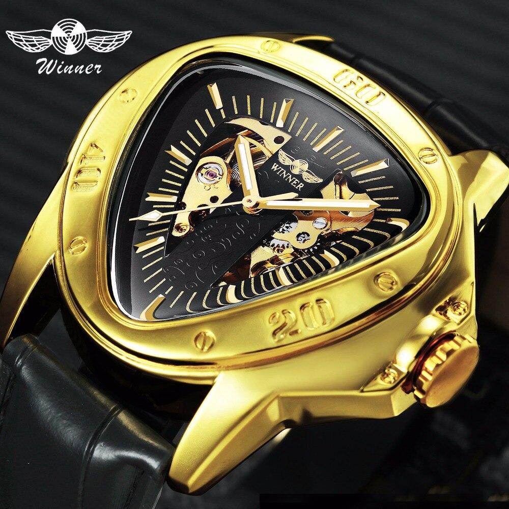Ganador mecánico automático reloj de los hombres de diseño deportivo triángulo reloj esqueleto superior de la marca de lujo de oro negro + caja de regalo