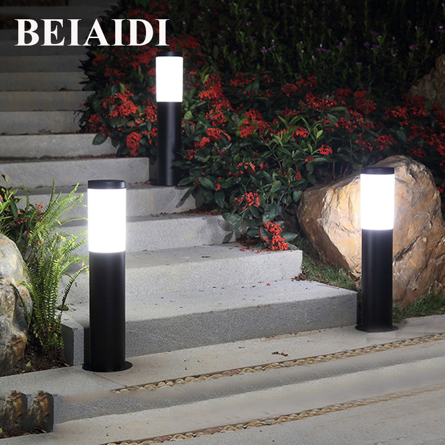 BEIAIDI 45/60CM Outdoor Led Garden Lawn Lamp Waterproof Pillar Landscape Light E27 Base Courtyard Villa Park Post Lawn Spotlight