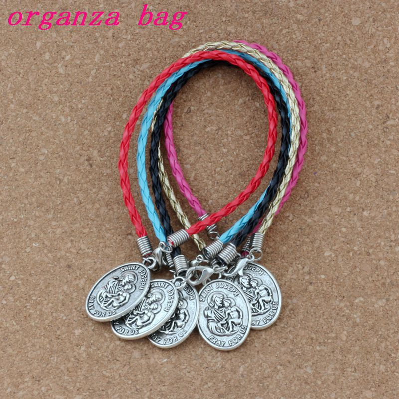 50pcs/lots Leather Bracelet Antique Silver  Saint Joseph Pray For Us Alloy Religion Charms Pendants Bracelet 5 Color B-439 We Have Won Praise From Customers Jewelry & Accessories