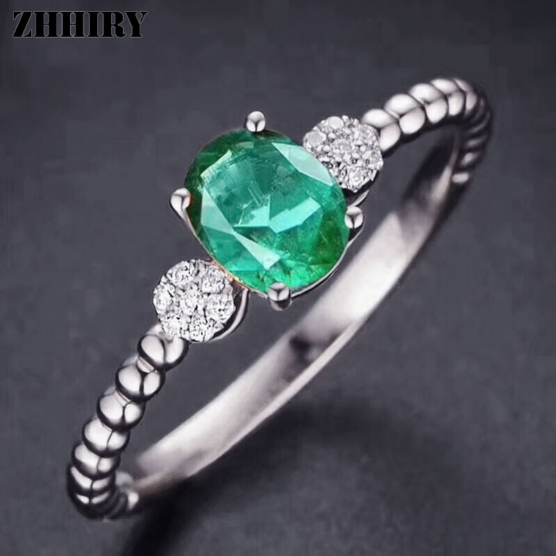 ZHHIRY Women Genuine Natural Emerald Gemstone Ring 925 Sterling Silver Rings Wedding Engagement Wife Fine Jewelry Royal Noble цена