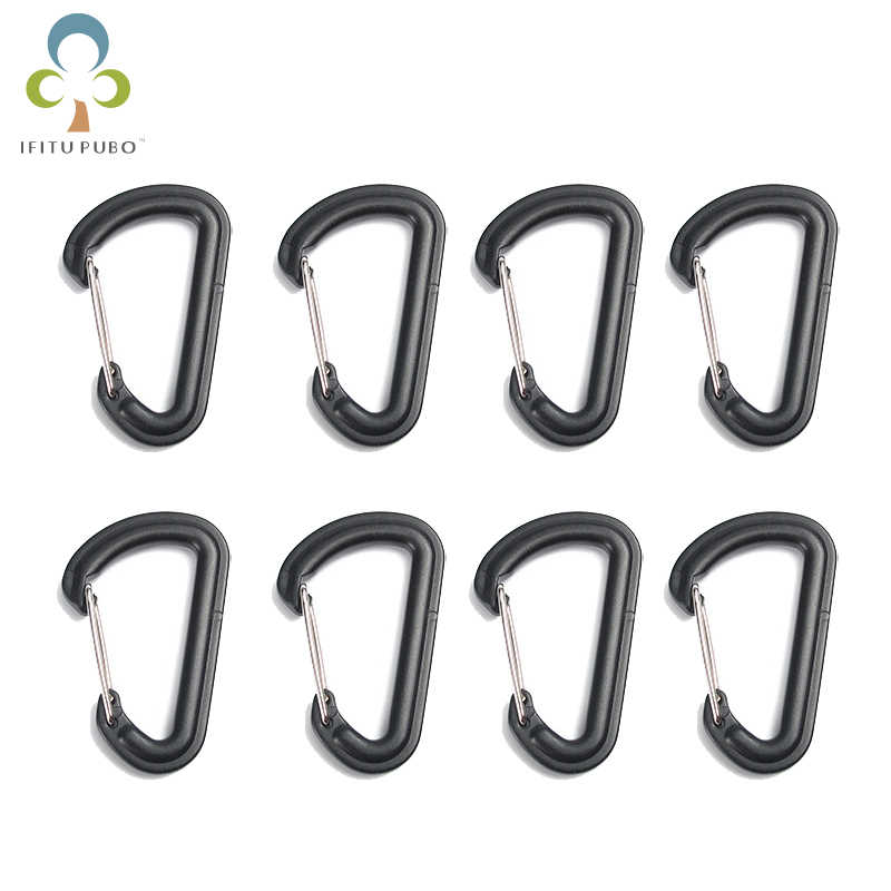 10Pcs Plastic EDC Keychain Clip Carabiner Hiking  Split Mini Spring Clasps Hook Carabiner Claspss GYH