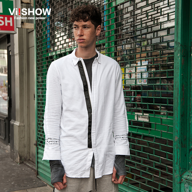 f08a1f1cd90 VIISHOW long Men Business Shirt Casual White Mens Dress Shirts Slim Fit  Camisa Homme Oversize Sleeve Print Design S-3XL CCZ5463