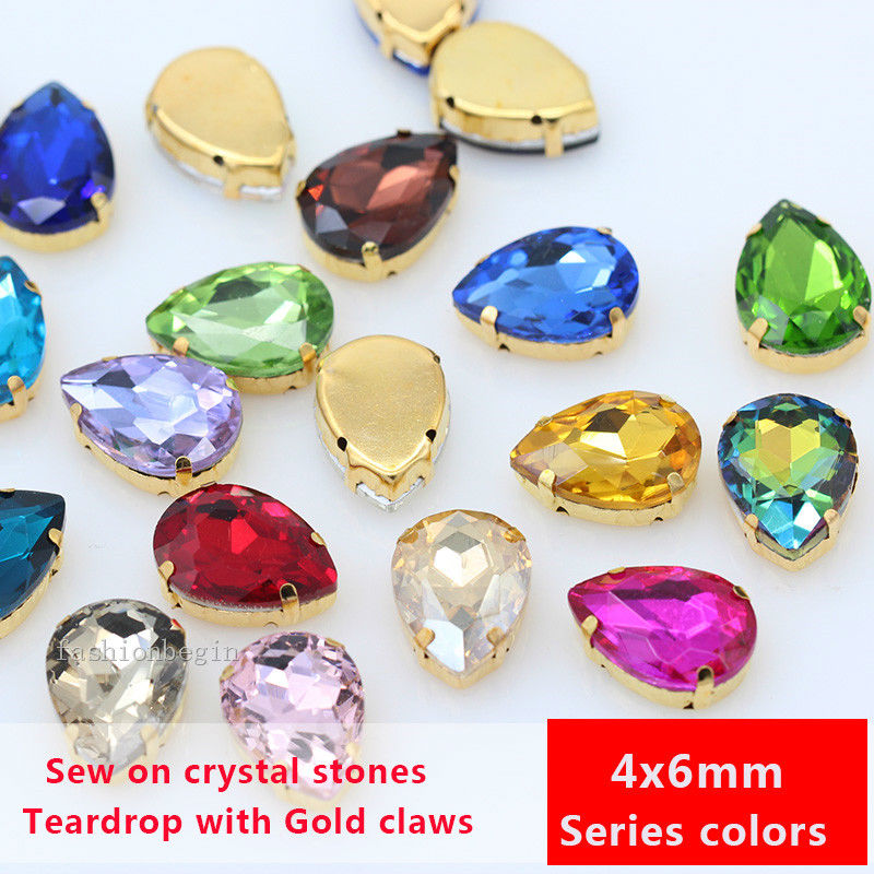 20p 4x6mm color teardrop czech crystal faceted glass sewing on Costume Dress  rhinestones gold setting jewelry db3563832775
