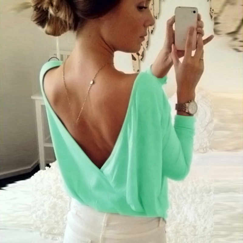 2019 Zomer vrouwen Blouse Fashion Back Open Cross Blouse Shirt Tops Dames Casual Loose Lange Mouwen Sexy Backless Solid blouses