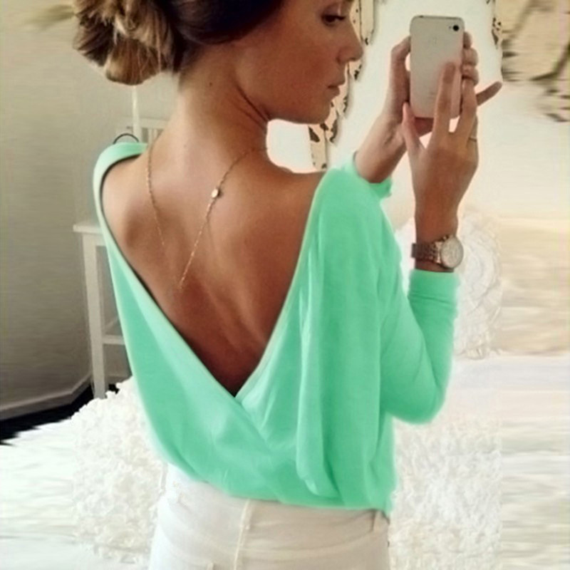 2019 Summer Women's Blouse Fashion Back Open Cross Blouse Shirt Tops Ladies Casual Loose Long Sleeve Sexy Backless Solid Blouses