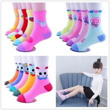 wholesale 5Pairs/Lot Children Sock Breathable Cotton Kid Socks For Boys Girls  1-11 Years Cartoon Baby