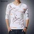 Aelorxin 2017 T-shirt dos homens Primavera Outono de Algodão de Manga Longa Homens em torno do pescoço t-shirt impressão moda pegasus oversize 5XL