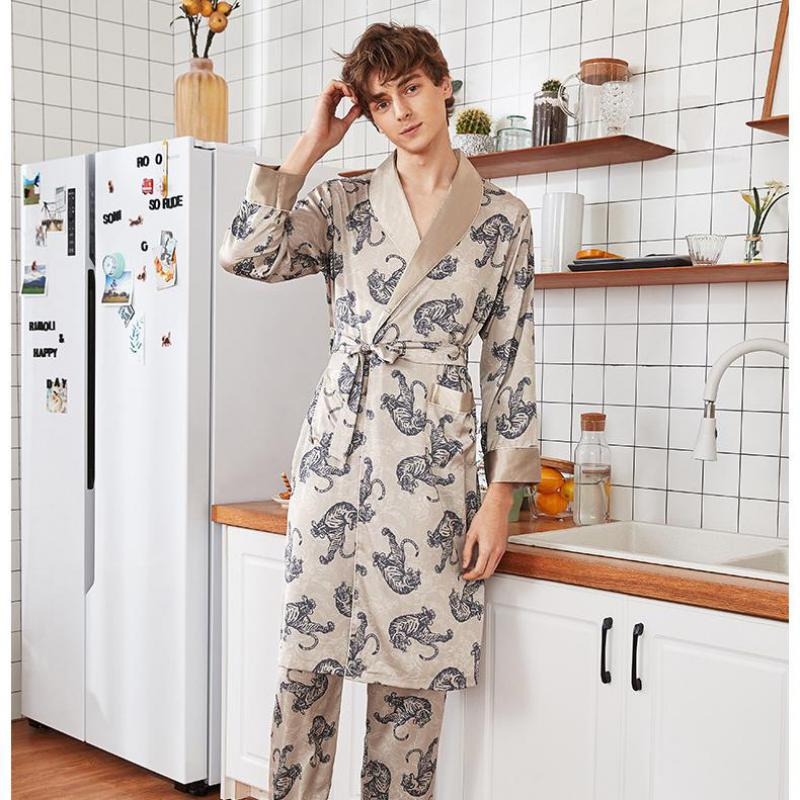 Spring Summer Sleepwear Nightgown Men Silky Home Clothes Bathrobe Satin Rayon Nightwear Casual Robe L-XXL